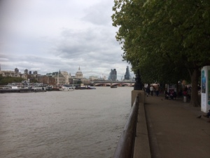 London's South Bank on a cloudy day